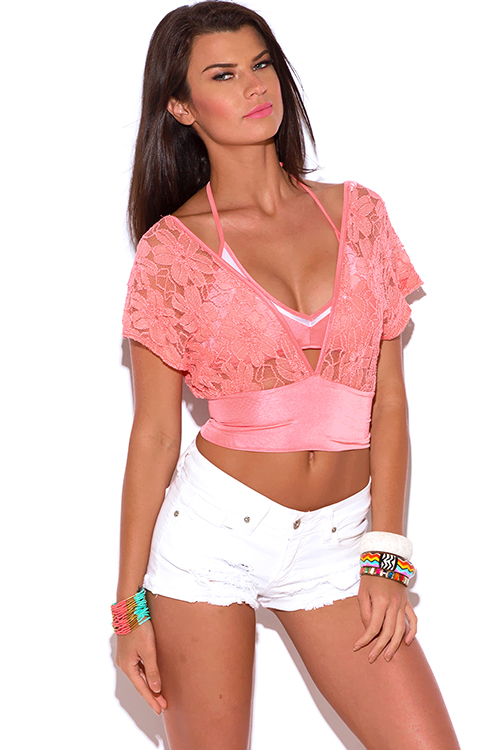 Cute cheap coral see through lace kimono sleeve crop party top