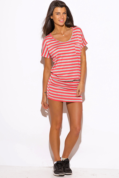 Cute cheap coral stripe short sleeve banded tunic mini dress