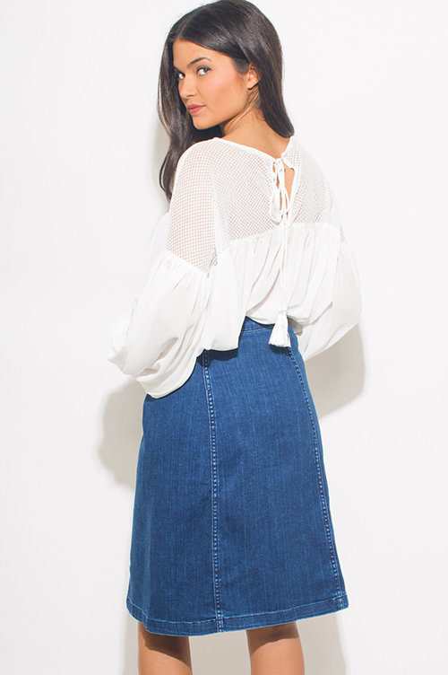 Cute cheap dark blue denim high waisted button up boho midi skirt