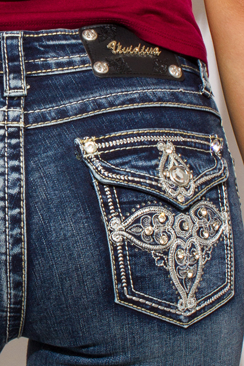 Cute cheap dark blue denim washed embroidered bejeweled fitted mid rise skinny jeans