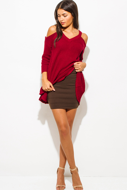 Cute cheap dark brown ribbed knit bandage bodycon fitted club mini skirt