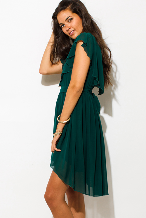 Cute cheap dark emerald green ruffle tiered high low boho evening party mini dress