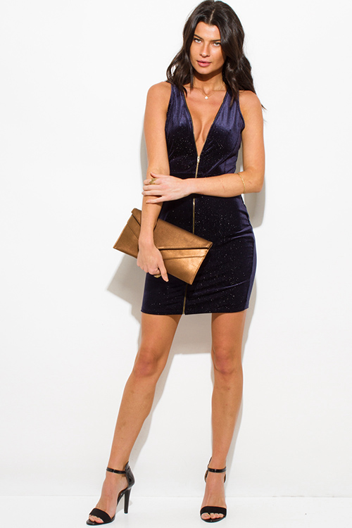 Cute cheap dark midnight blue metallic velvet zip up sleeveless bodycon fitted club mini dress