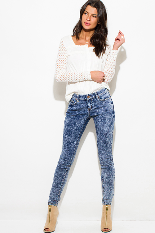 PAISLEY PRINT NAVY BLUE DENIM MID RISE FITTED SKINNY JEANS | Cute ...