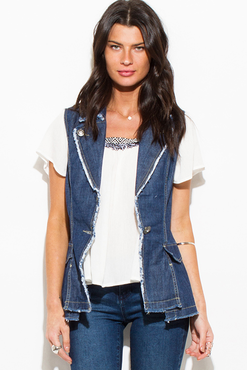 Cute cheap dark navy blue denim embellished distressed fitted vest top