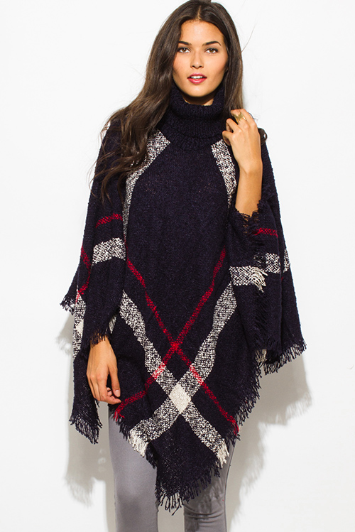 Cute cheap dark navy blue giant checker plaid fuzzy boho knit poncho sweater jacket tunic top