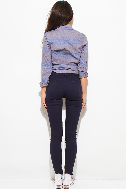 Cute cheap dark navy blue mid rise fitted skinny pants