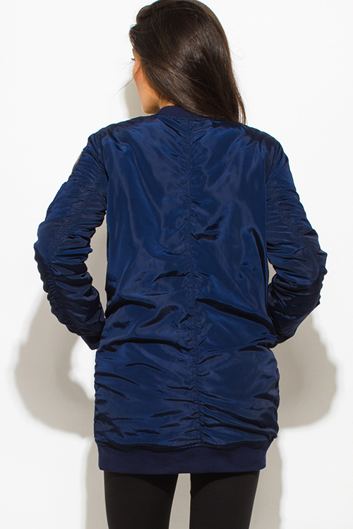 Cute cheap dark navy blue military zip up pocketed patch embroidered puff bomber coat jacket