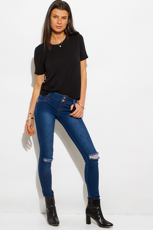 Cute cheap dark navy blue washed denim mid rise distressed ripped double button skinny fit jeans
