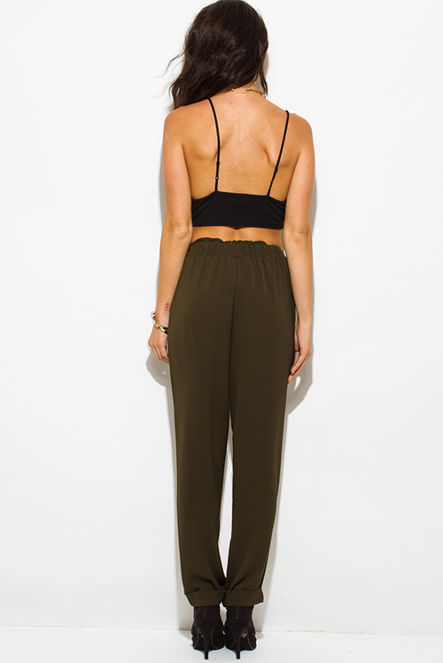 Cute cheap dark olive green bow tie high waisted harem pants
