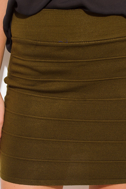 Cute cheap dark olive green stretch ribbed knit bandage bodycon fitted club mini skirt