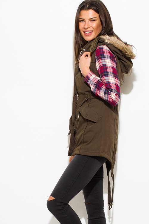 Cute cheap dark olive green zip up buttoned faux fur lined pocketed hooded drawstring puffer cargo trench vest