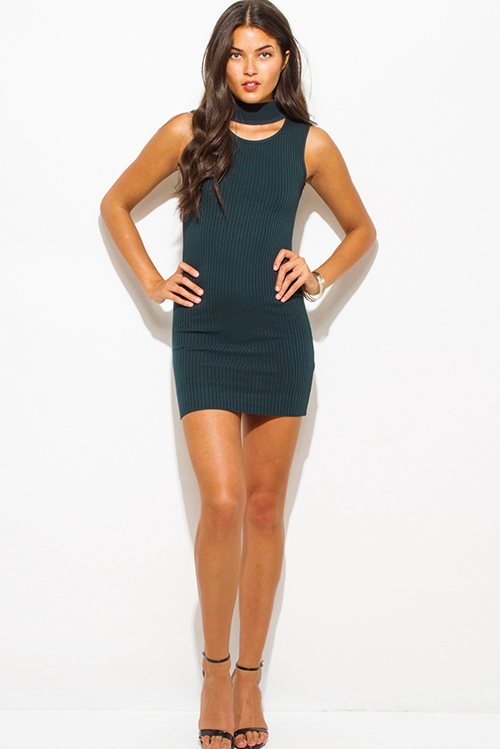 Cute cheap dark teal green ribbed knit turtleneck cut out backless fitted bodycon club mini dress