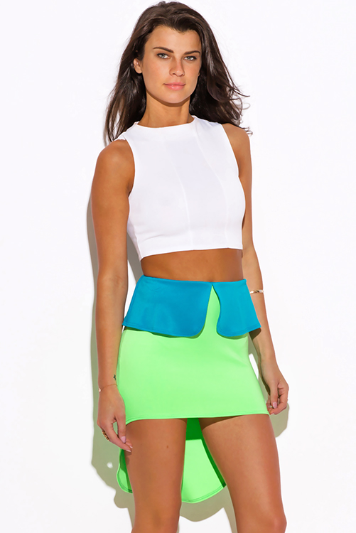 Shop neon green color block high low peplum scuba pencil mini skirt