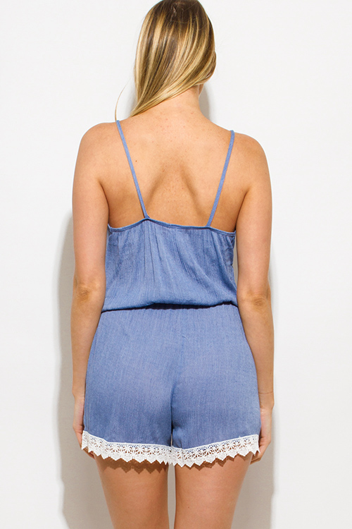 Cute cheap dusty blue crochet lace trim spaghetti strap boho romper playsuit jumpsuit