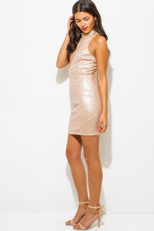 Cute cheap dusty blush pink sequined mock neck racer back bodycon fitted pencil party mini dress