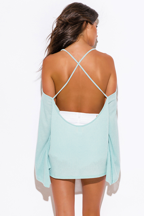 Cute cheap dusty mint green ribbed knit off shoulder backless kimono sleeve sweater boho tunic top