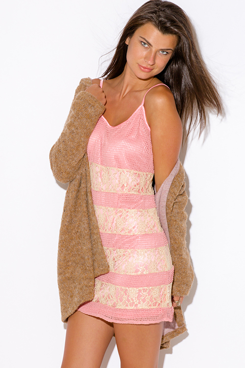 Cute cheap dusty pink crochet lace over spaghetti strap boho party dress