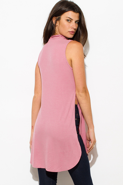 Cute cheap dusty pink ribbed knit choker cut out mock neck slit side rounded hem sleeveless top