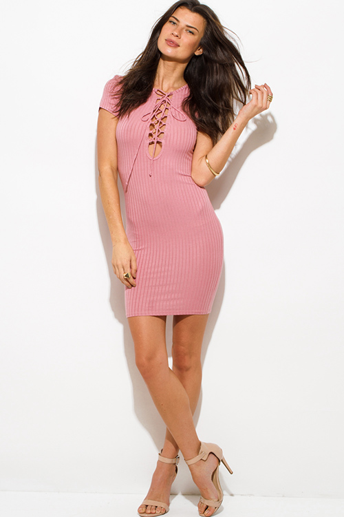 Cute cheap dusty pink ribbed knit lace up short sleeve bodycon fitted club mini dress
