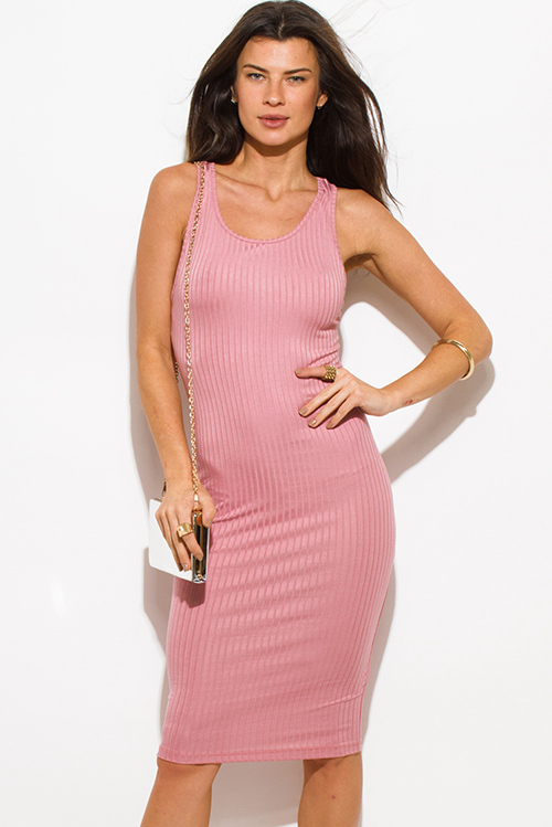 Cute cheap dusty pink ribbed knit sleeveless scoop neck racer back bodycon fitted club midi dress