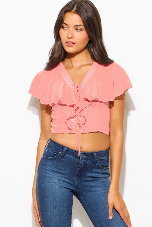 Cute cheap dusty pink semi sheer chiffon v neck ruffled tiered laceup boho party crop blouse top