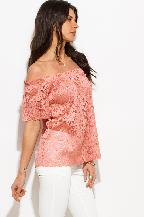 Cute cheap dusty pink sheer see through lace off shoulder boho blouse top