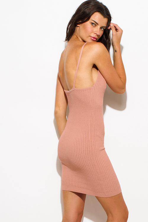 Cute cheap dusty pink taupe ribbed knit thin strap v neck open back fitted bodycon sweater midi dress
