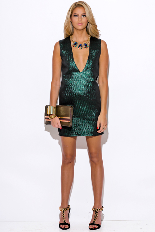 Cute cheap green metallic v neck backless cocktail party shift mini dress
