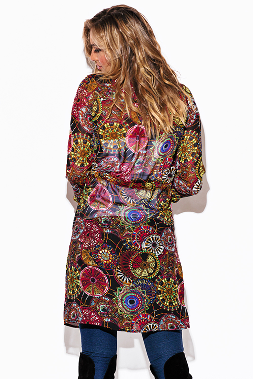 Cute cheap ethnic print chiffon blouson sleeve semi sheer double breasted trench coat dress
