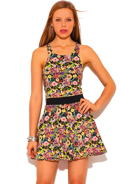 Cute cheap floral print banded waist skater mini skirt