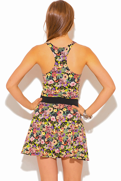 Cute cheap floral print fitted racer back crop tank top