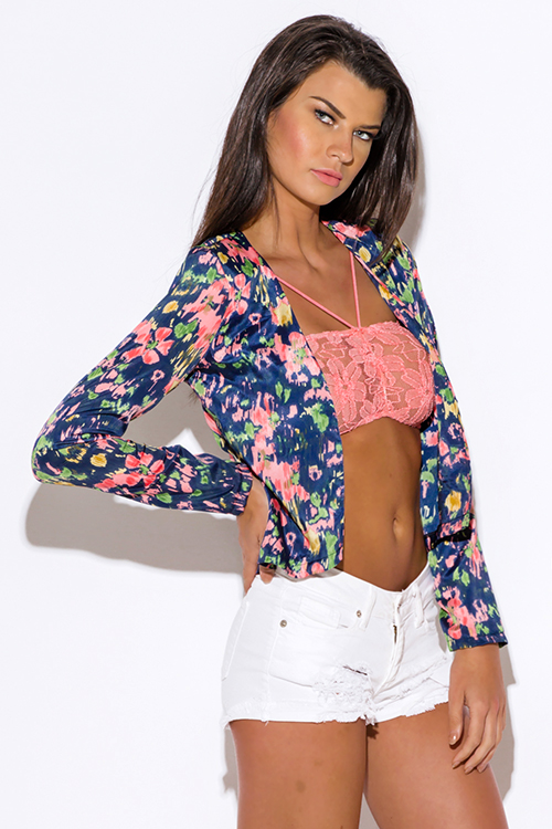 Cute cheap floral print padded shoulder navy blue long sleeve boho open blazer jacket