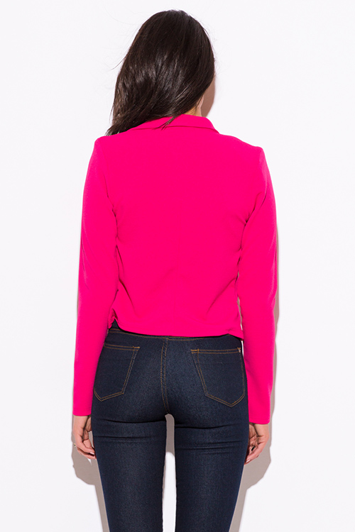 Cute cheap fuchsia hot pink golden button military style open blazer jacket