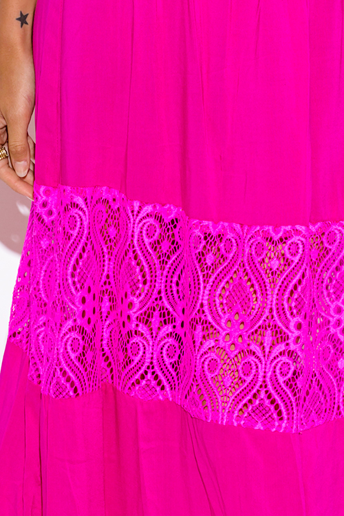 Cute cheap fuchsia hot pink lace trim strapless drop waist summer boho maxi sun dress