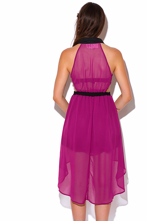Cute cheap berry pink color block cut out chiffon high low shirt dress