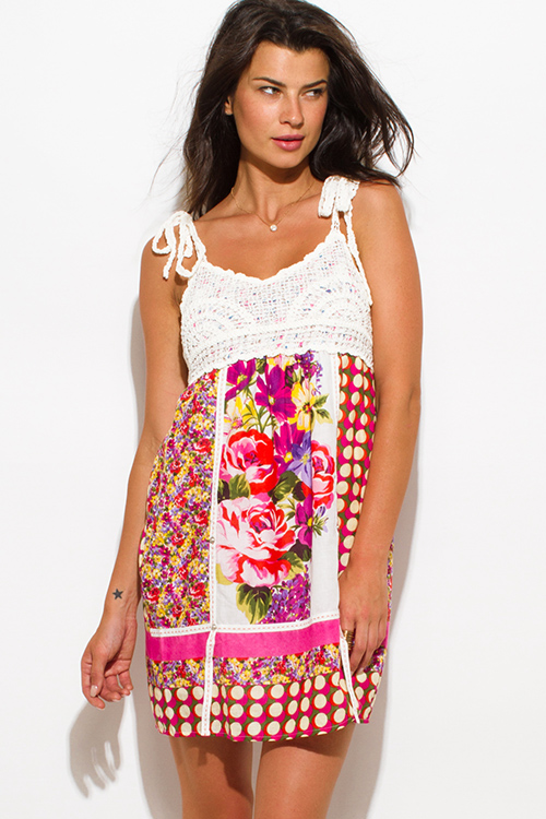Cute cheap fuchsia pink cotton floral print crochet contrast boho mini sun dress