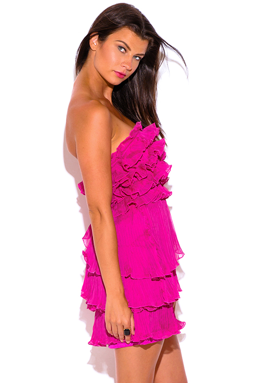 Cute cheap fuchsia hot pink pleated chiffon ruffle strapless formal cocktail party mini dress
