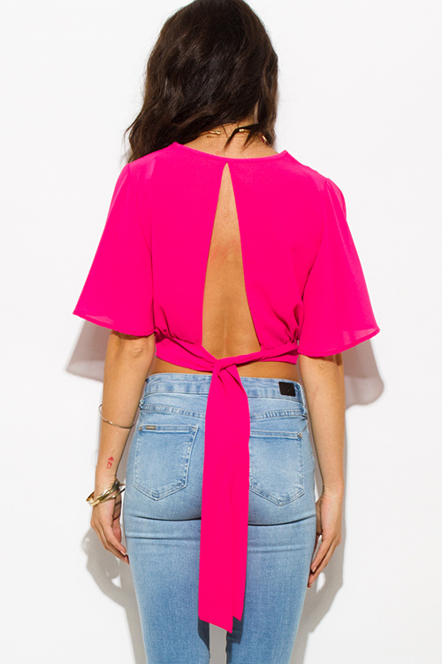 Cute cheap fucshia hot pink sheer chiffon crochet trim v neck flutter sleeve open back tie crop blouse top