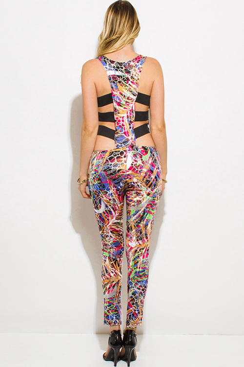 Cute cheap PLUS SIZE pink multicolor silver metallic abstract print cut out caged back bodycon fitted club catsuit jumpsuit