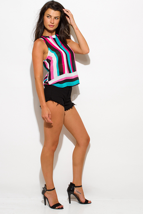 Cute cheap fuschia pink black teal stripe sheer chiffon sleeveless blouse top