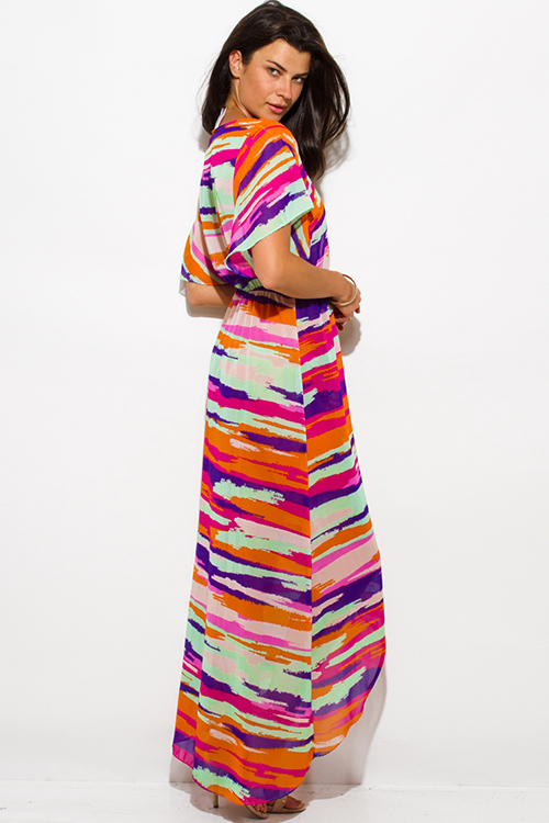 Cute cheap fuschia purple abstract print semi sheer chiffon kimono sleeve high slit boho maxi sun dress