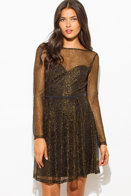 Cute cheap gold black shimmery metallic fishnet mesh contrast long sleeve sweetheart boat neck a line cocktail party mini dress