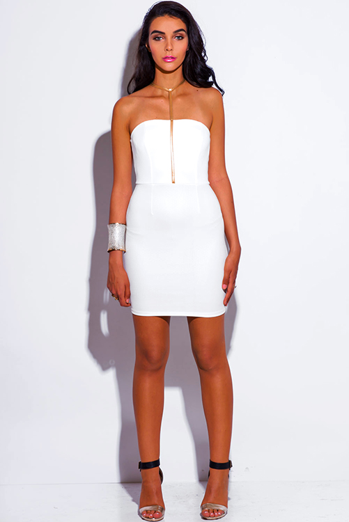Shop gold faux leather choker white fitted bodycon pencil