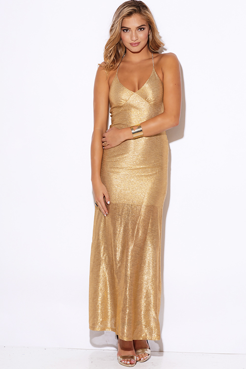 Cute cheap gold metallic bejeweled backless formal evening cocktail party maxi dress