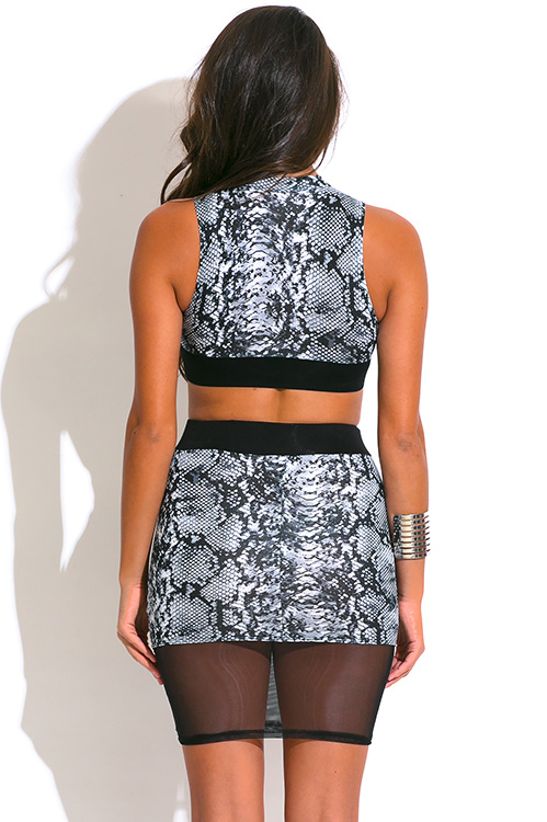 Cute cheap gray and black snakeskin animal print two piece set dress