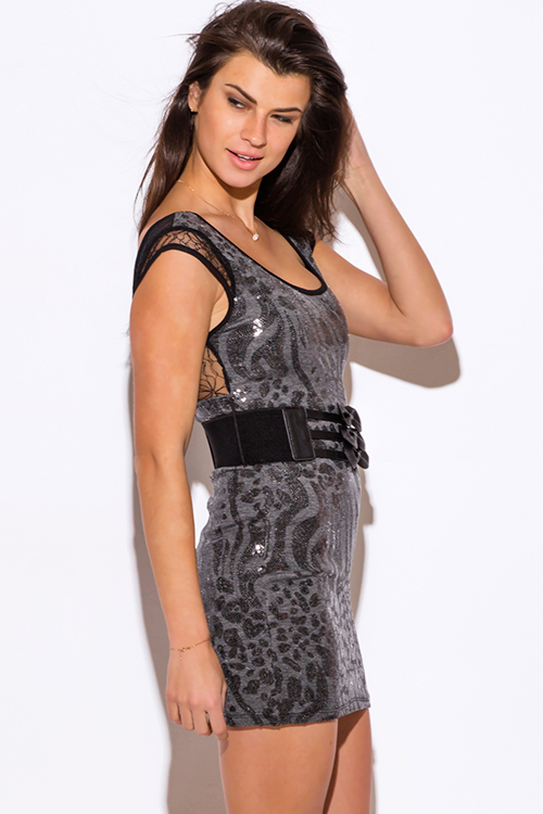 Cute cheap gray sequined backless fitted bodycon belted club mini dress