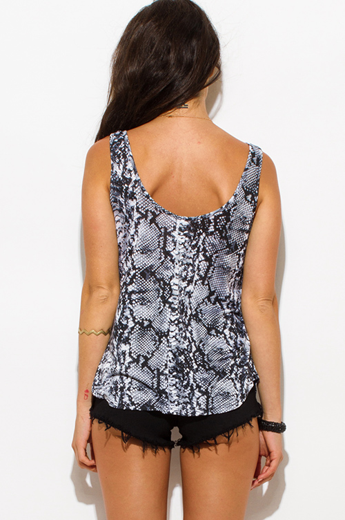 Cute cheap gray snake animal print caged neckline open back party tank top