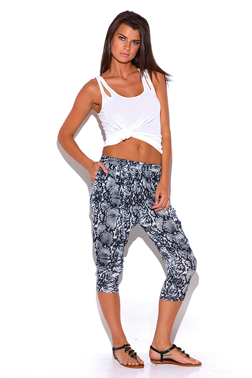 Cute cheap gray snake animal print pocketed tapered jersey capri harem parachute lounge pants