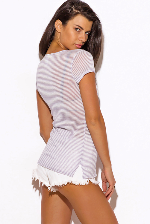 Cute cheap gray stripe deep v neck fitted tee shirt top